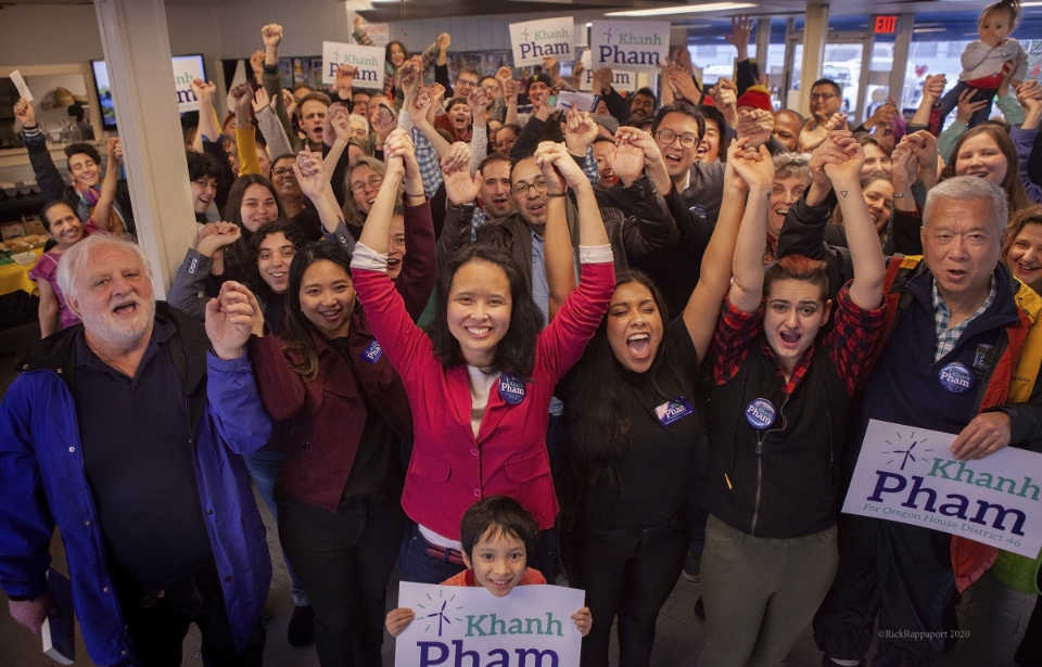 Khanh Pham with a crowd of supporters at her campaign launch party for Oregon House District 46